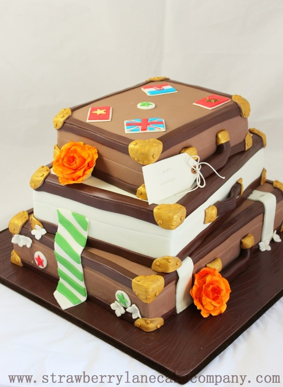 Stacked Old Fashioned Suitcases Wedding Cake - CakeCentral.com