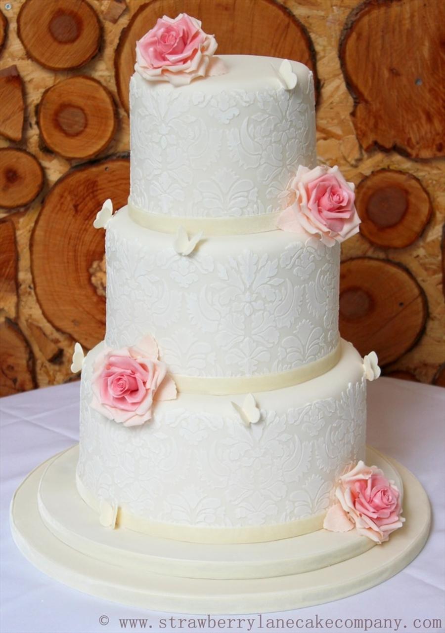 Ivory Damask And Pink Rose 3 Tier Wedding Cake - CakeCentral.com
