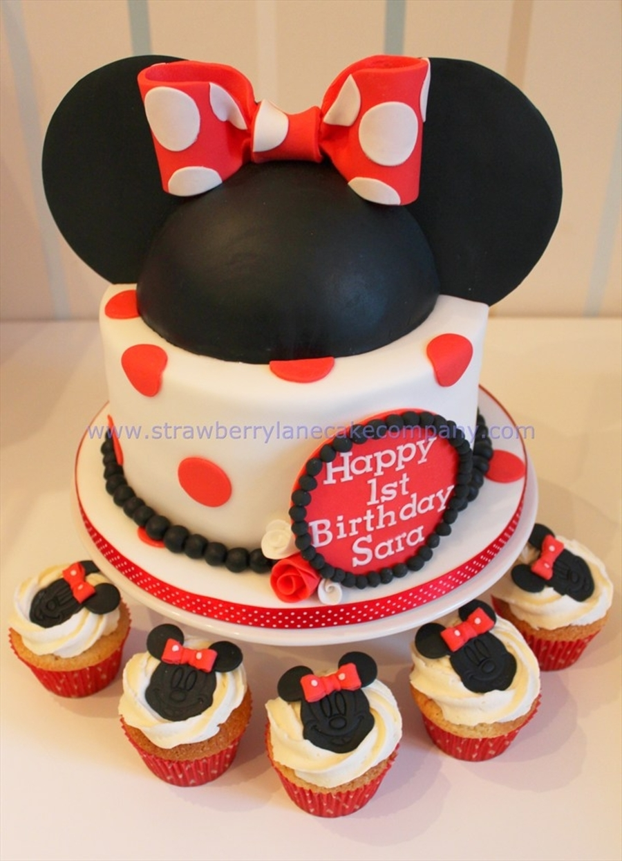 Minnie Mouse Cake And Cupcakes For Sara Age 1 Cakecentral
