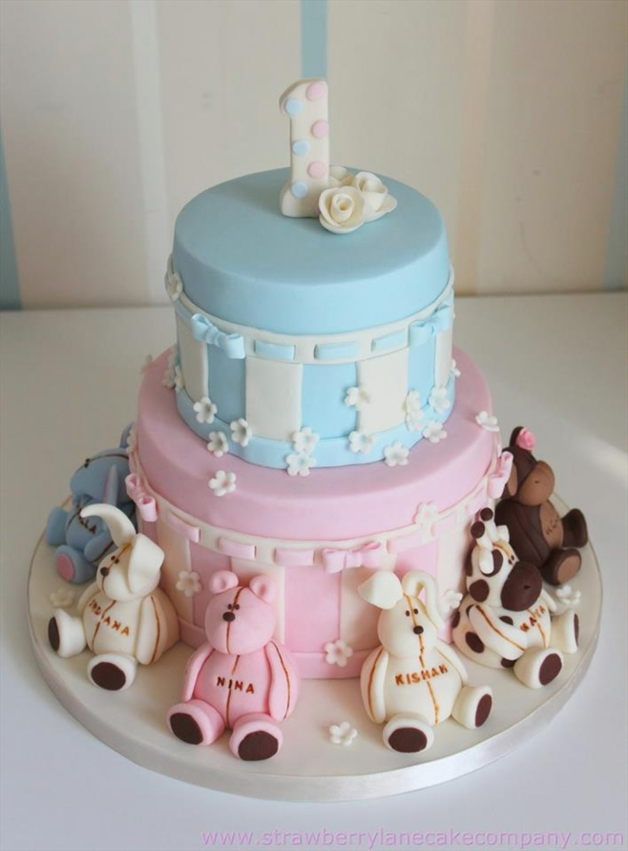 Joint 1st Birthday Animal Cake Cakecentral
