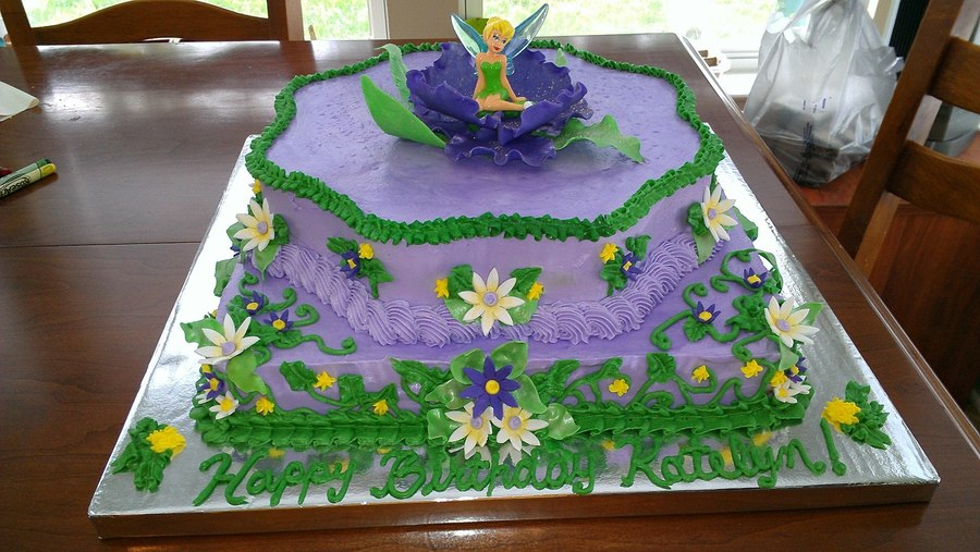 Two Tier Tinkerbell Cake 12 Square Base With Wilton Flower Power Top Layer Both Layers Frosted In Buttercream Topper R