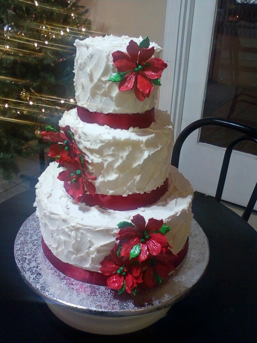 Decorating A Christmas Cake With Ribbon