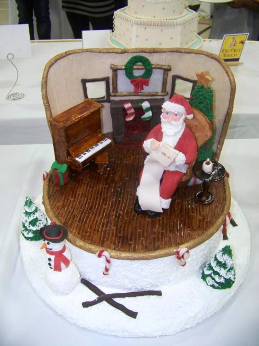 Furniture And Wall Made Of Pastillage Santa And The Trees Made Of Modeling Chocolate  on Cake Central