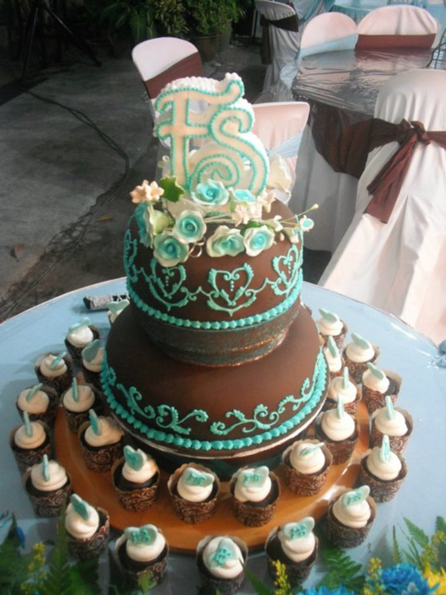 Chocolate & Teal Wedding Cakes/cup Cakes on Cake Central