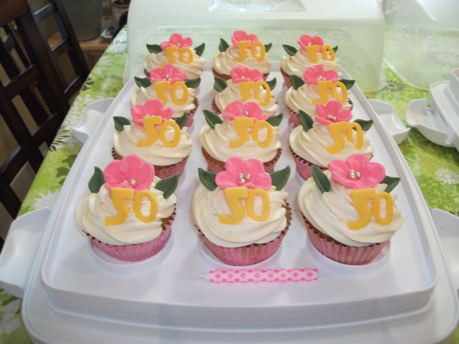 50Th Birthday Cupcakes With Fondant Cut Outs on Cake Central