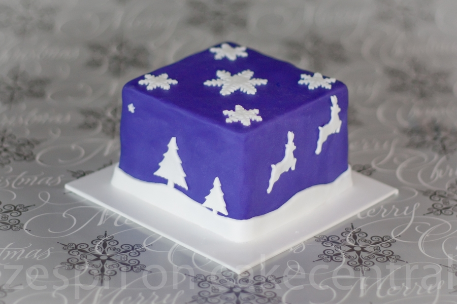 Purple Christmas Themed Cake on Cake Central