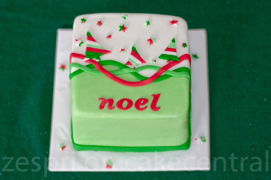 Striped Christmas Tree Cake  on Cake Central