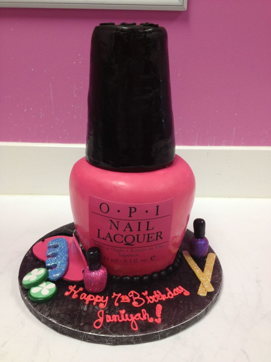Opi Pink Nail Polish Bottle Spa Themed Birthday Cakecentral