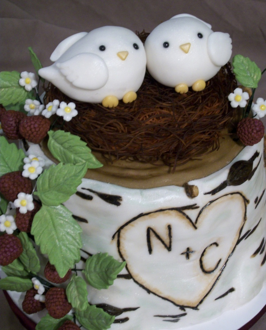 Love Bird Birch Tree Bridal Shower Cake Cakecentral Com