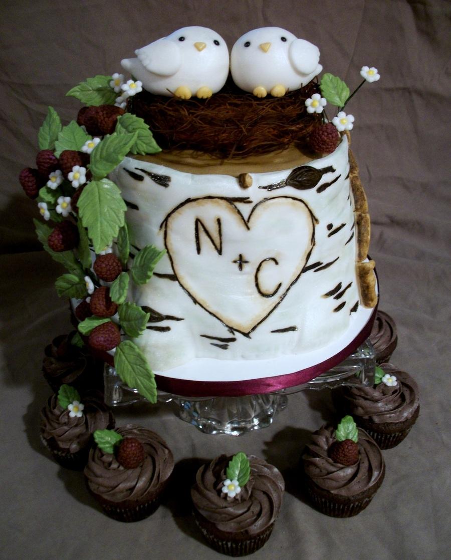 Love Bird Birch Tree Bridal Shower Cake Cakecentral Com