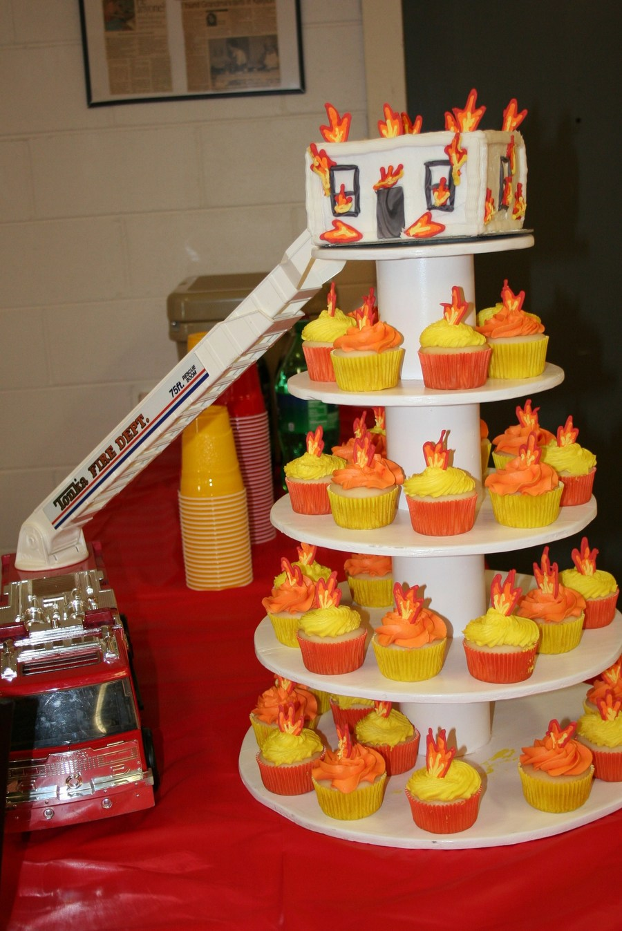 Fireman Burning House Cake With Flame Cupcakes For Grooms