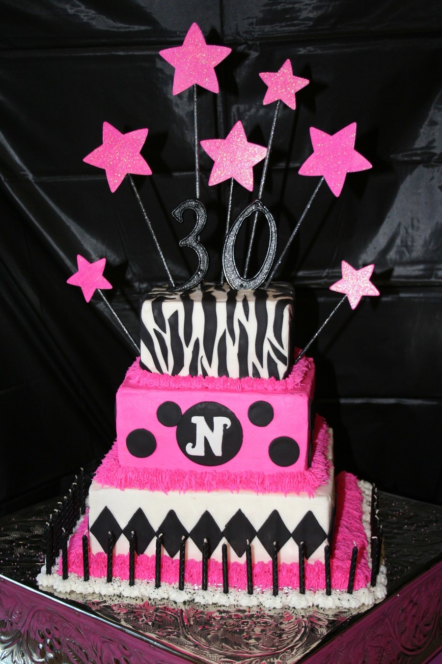Pink Black 30th Birthday Cake Cakecentral Com