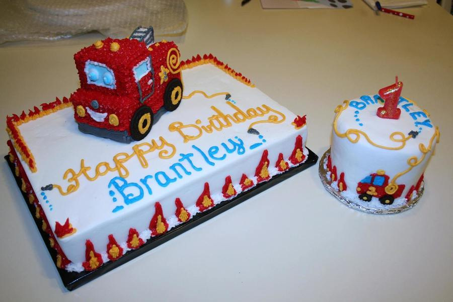 Astounding Firetruck First Birthday Cake With Smash Cake Cakecentral Com Funny Birthday Cards Online Alyptdamsfinfo