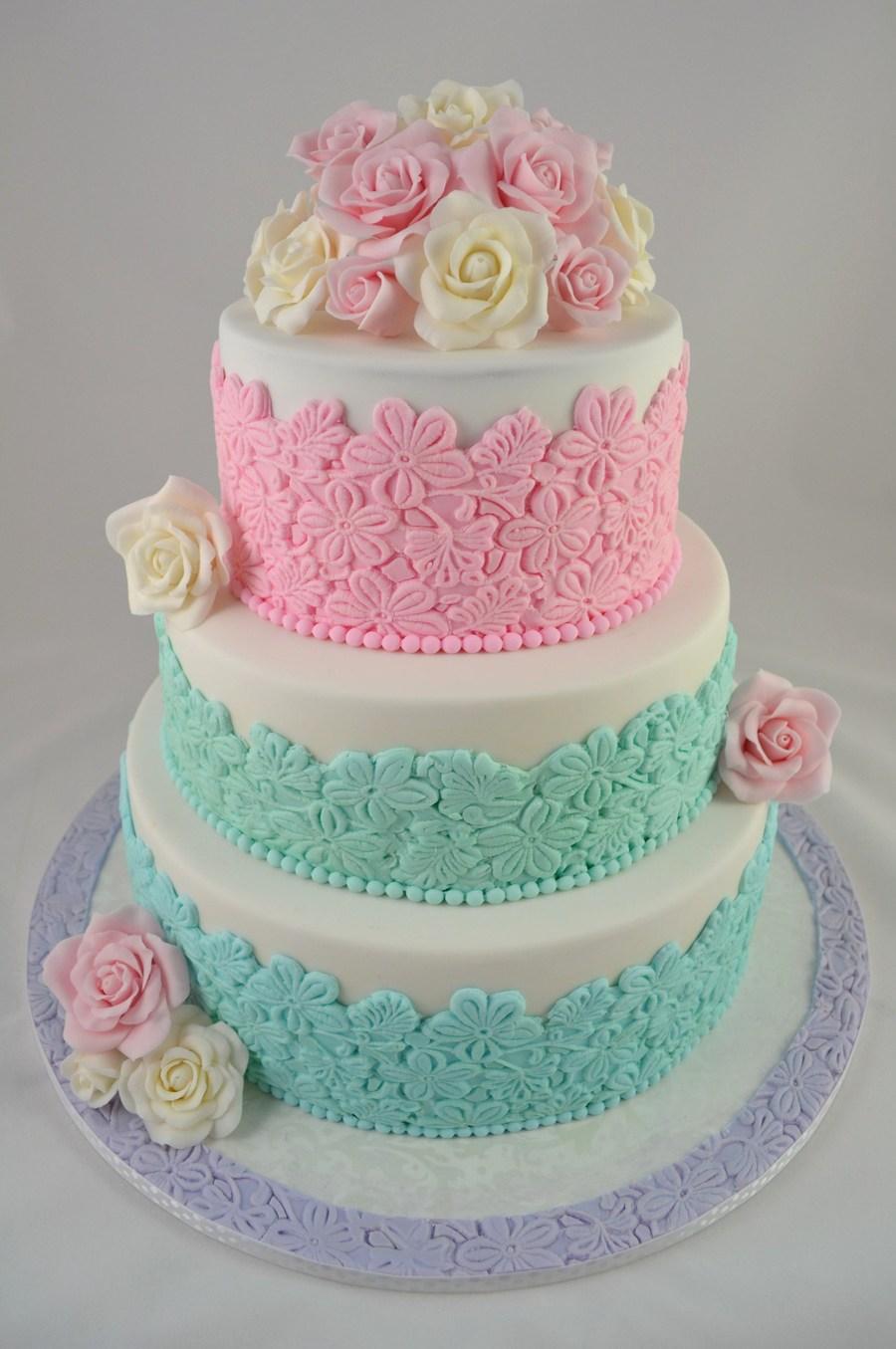 Pastel Floral Wedding Cake - CakeCentral.com
