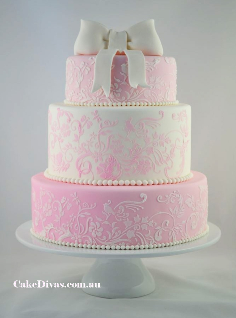 Romantic Pink And White Wedding Cake - CakeCentral.com