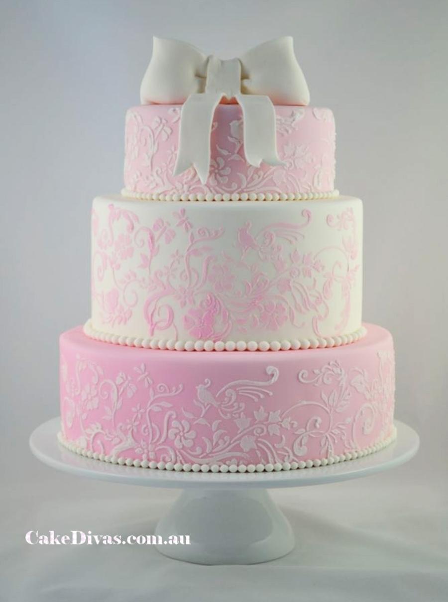 Black White Pink Wedding Cakes