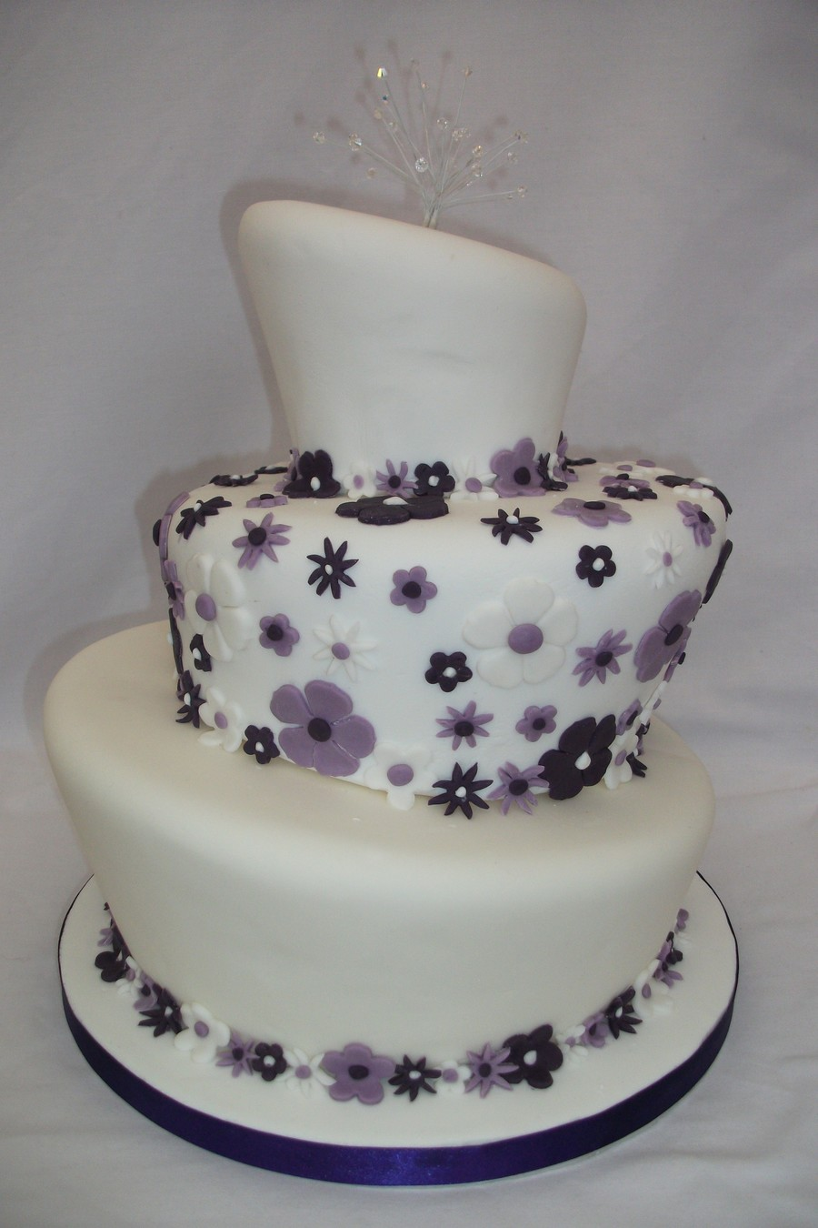 Purple Wonky Wedding Cake on Cake Central