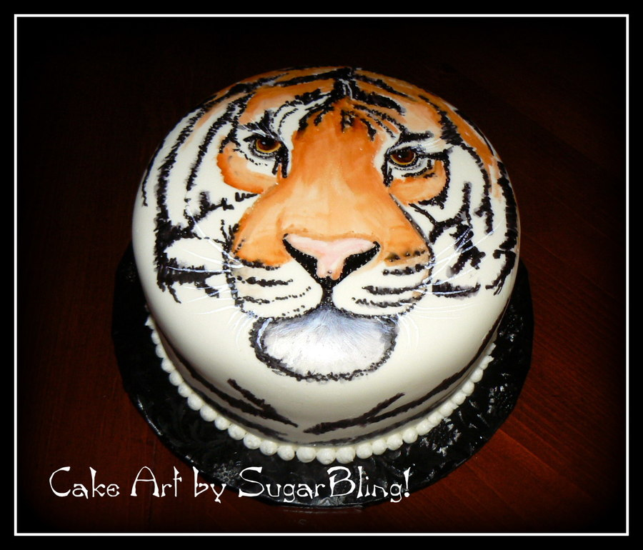White Tiger Face Cake