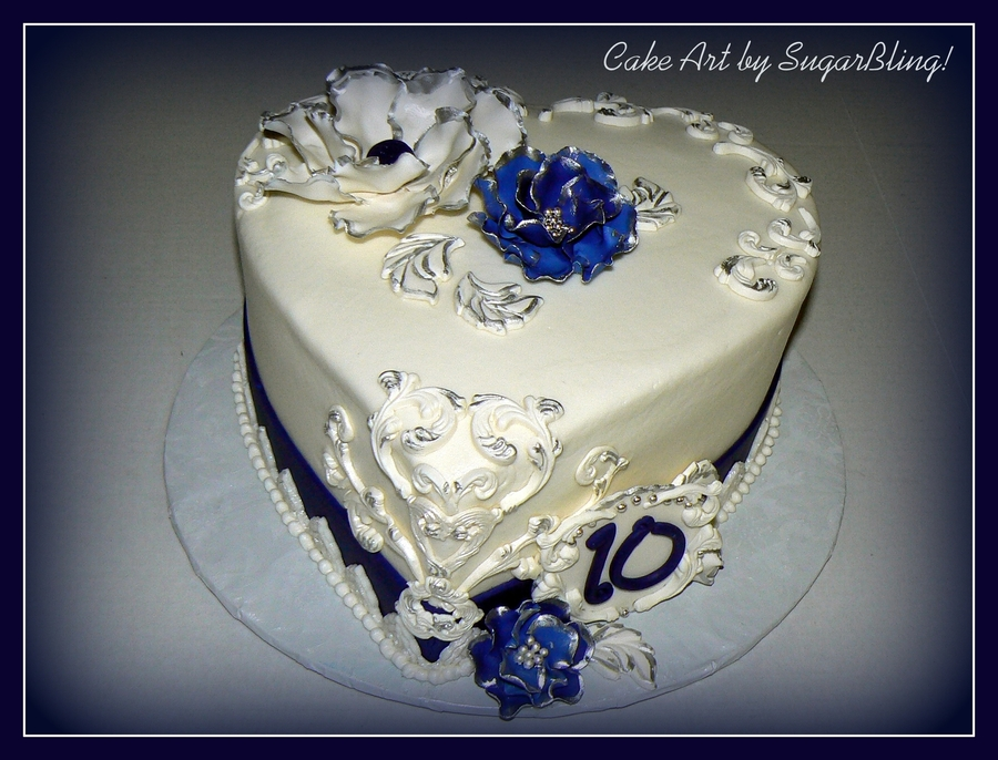 Blue And Silver Anniversary on Cake Central