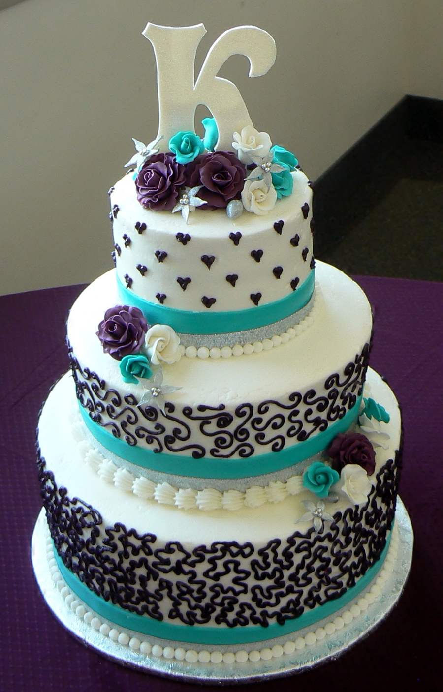 two tier purple and green wedding cakes aqua and purple wedding cake cakecentral 21344