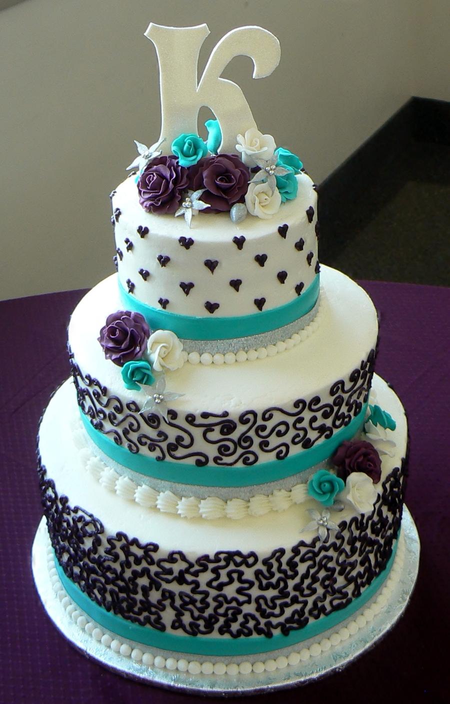 Turquoise Wedding Cake Designs