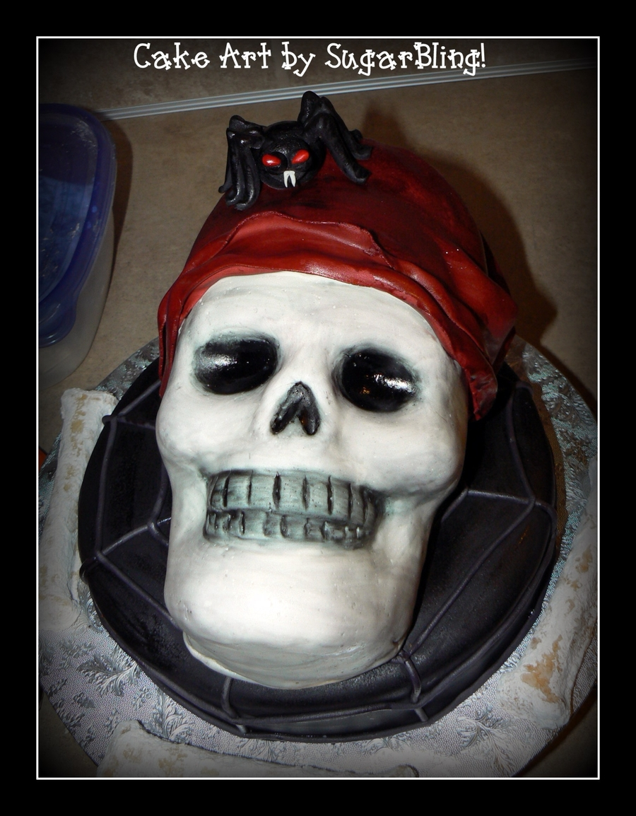 Skull And Spider  on Cake Central