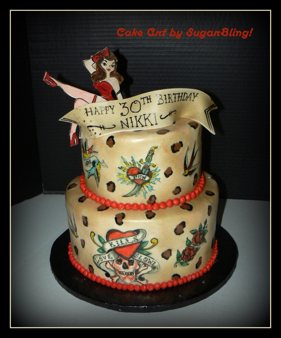 Astonishing Pinup Tattoo Cake Cakecentral Com Funny Birthday Cards Online Sheoxdamsfinfo