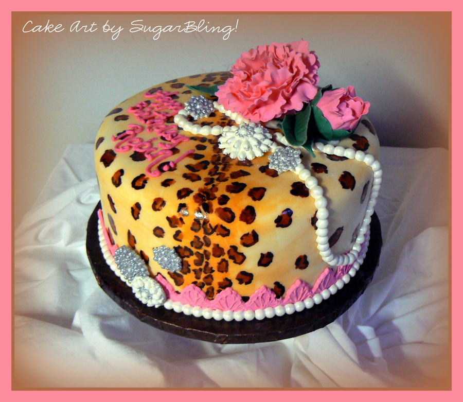Fondant Covered Cake Painted With Food Color Gels And Decorated With Gumpaste Roses Pearls And Brooches on Cake Central