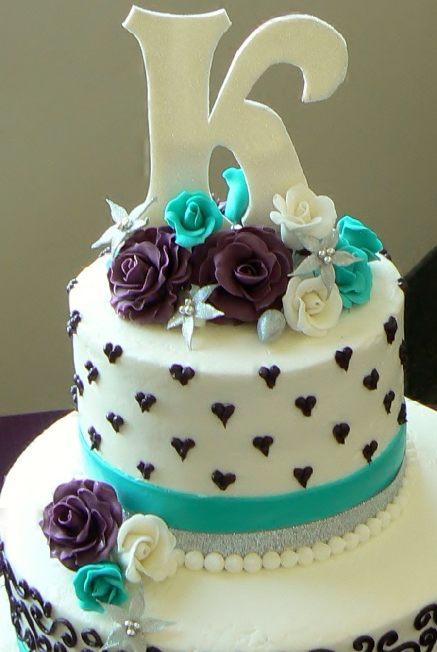 Aqua And Purple Wedding Cake - CakeCentral.com