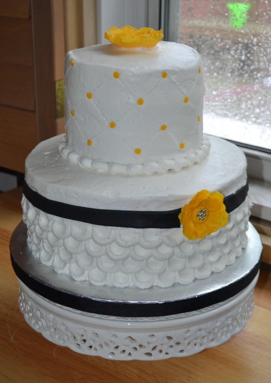 Wedding Cake With Yellow Flowers on Cake Central