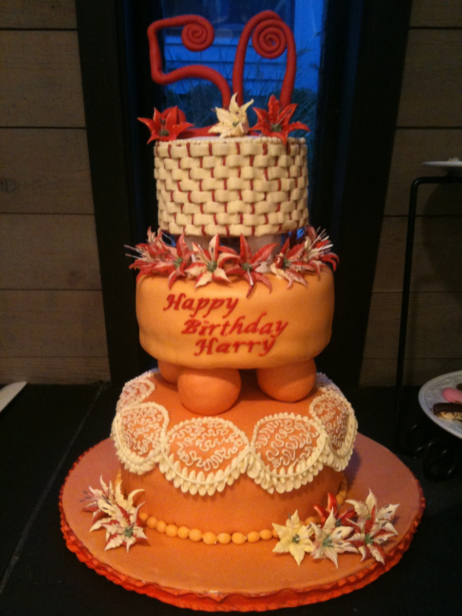 Three Tiered Birthday Cake on Cake Central