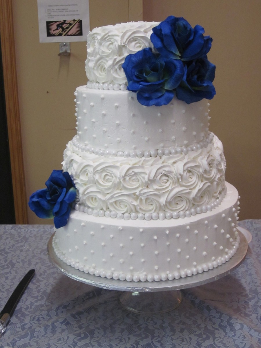 Dot And Rosette Wedding Cake Cakecentral Com