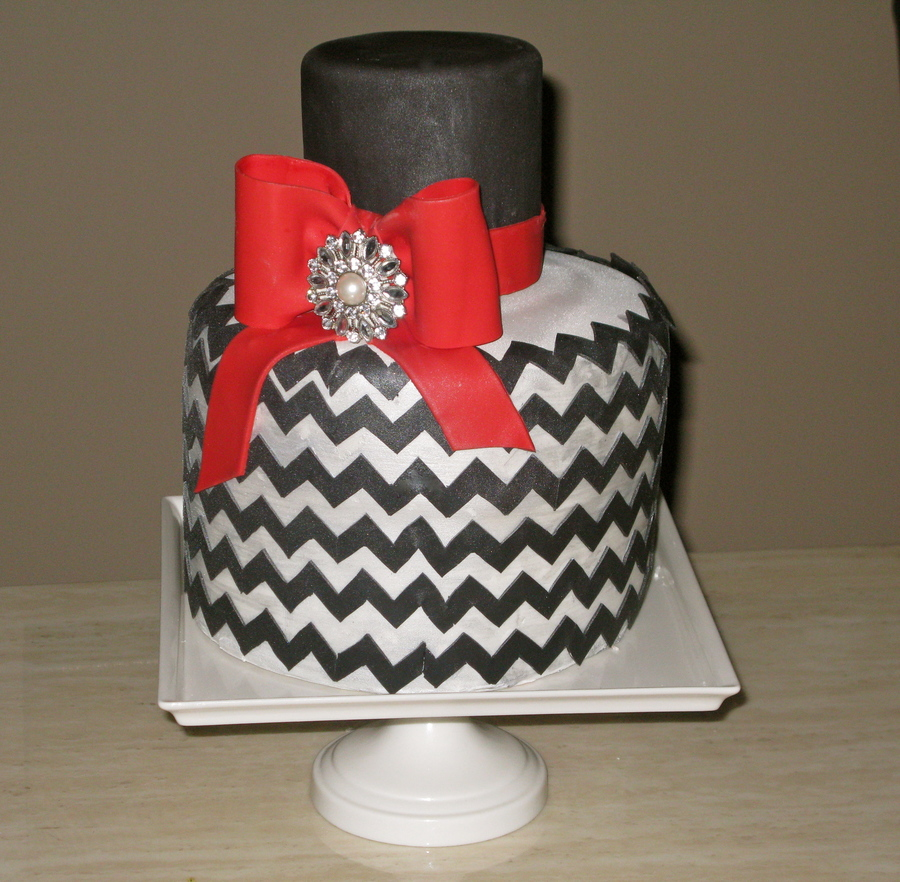 Silver And Black Chevron Cake on Cake Central