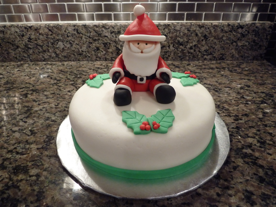 Santa Cake Santa Is Made From Regular Fondant And The Cake Is Covered In Mmf  on Cake Central