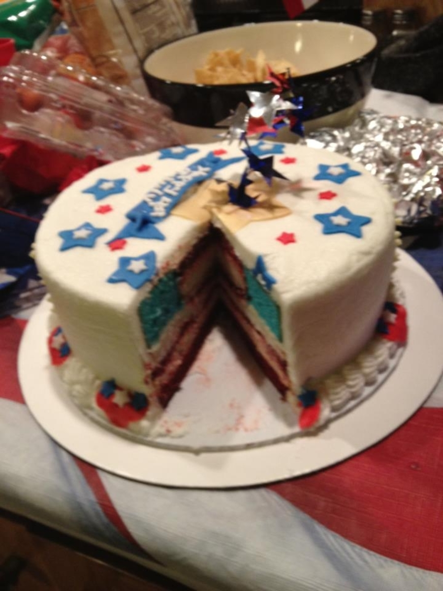 Surprise Flag Inside Cake on Cake Central