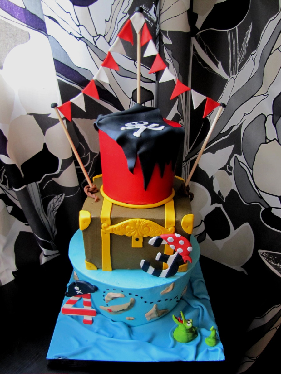 3 Tiered Pirate Birthday Cake! on Cake Central