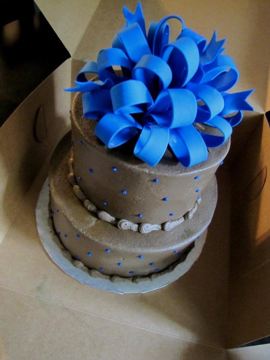 Brown And Blue Wedding Cake! on Cake Central