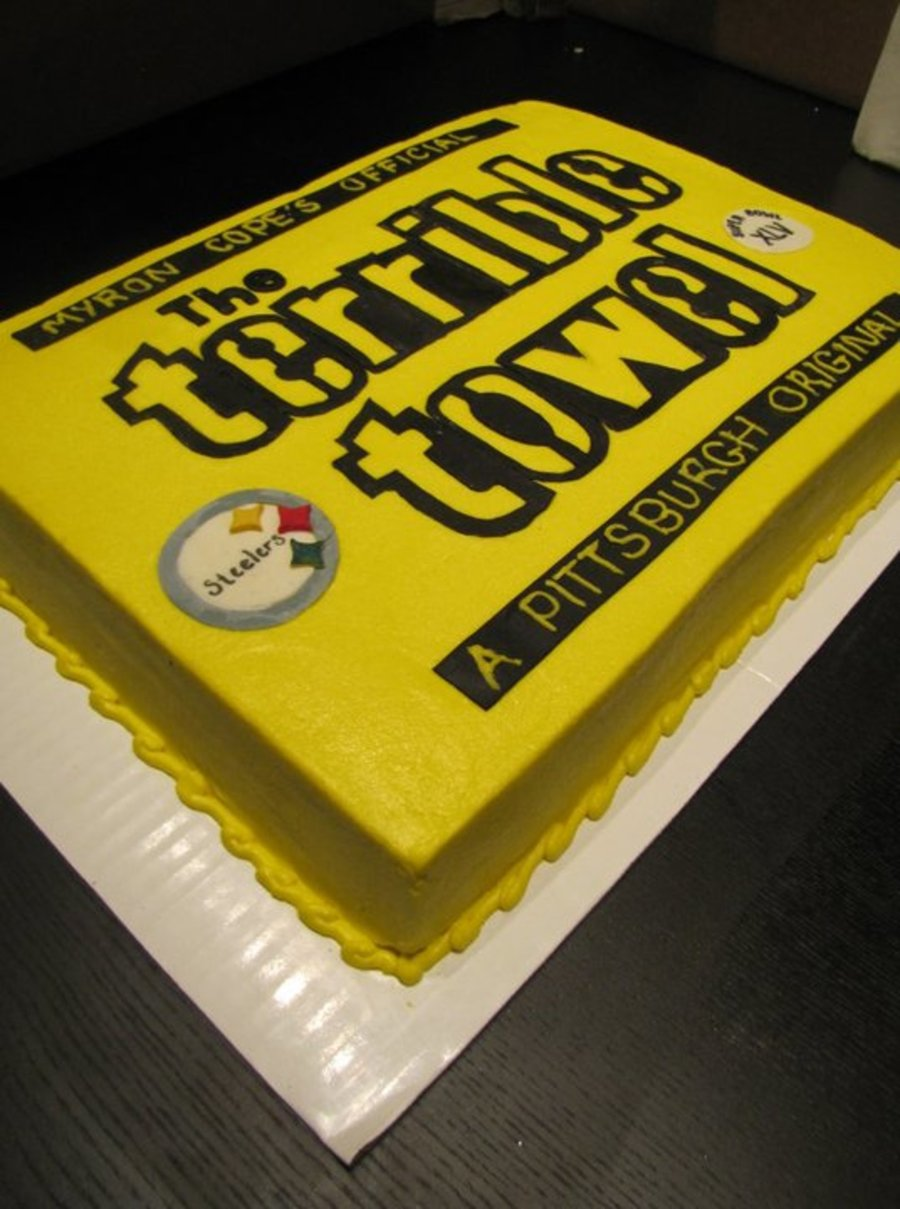 Terrible Towel Superbowl Cake!!! on Cake Central