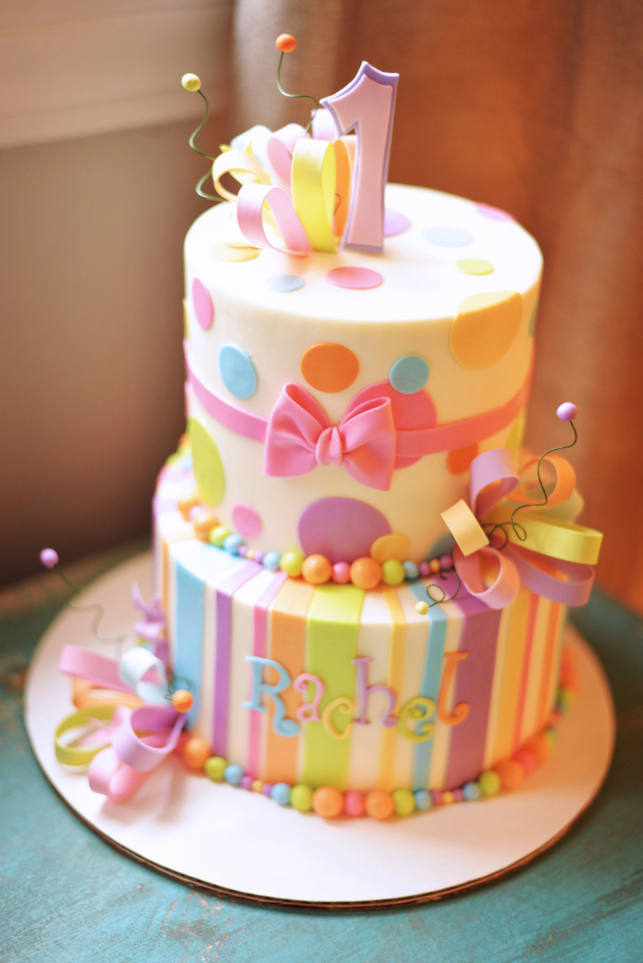 Girly Whimsical 1St Birthday Cake CakeCentralcom