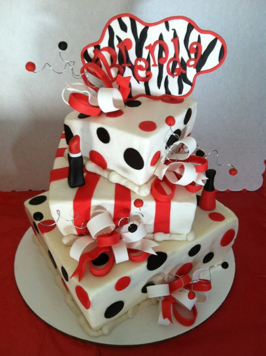 Red, Black And White Birthday Cake!  on Cake Central