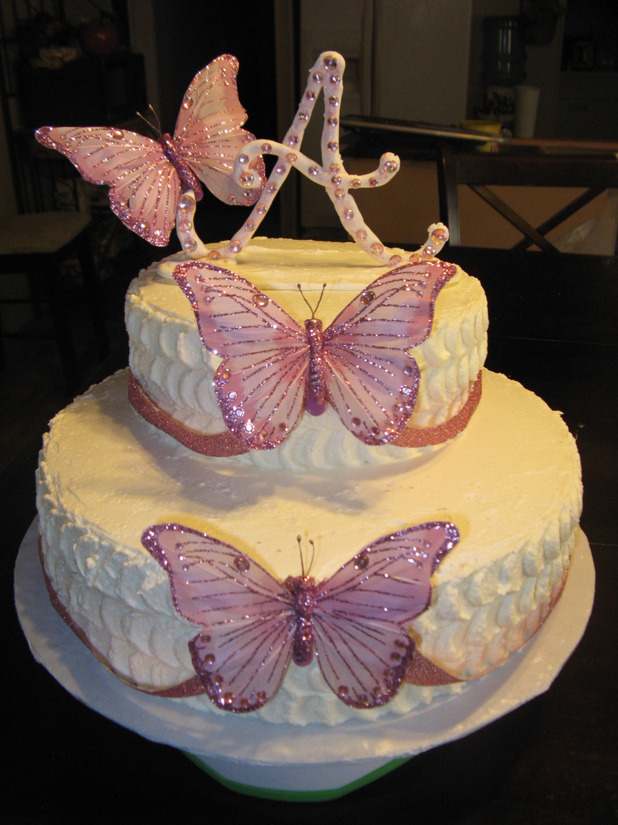 Pleasing Pink And White Butterfly Birthday Cake Cakecentral Com Personalised Birthday Cards Petedlily Jamesorg