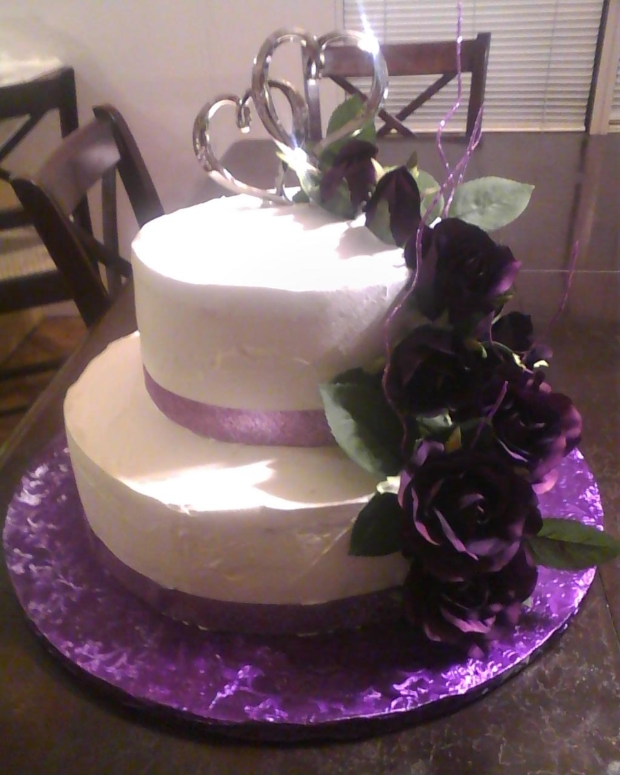 Purple And White 2 Tier Wedding Cake  on Cake Central