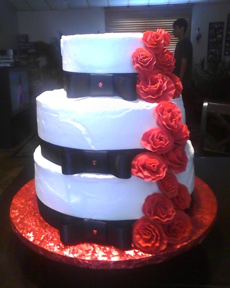White And Black Wedding Cake With Red Roses on Cake Central