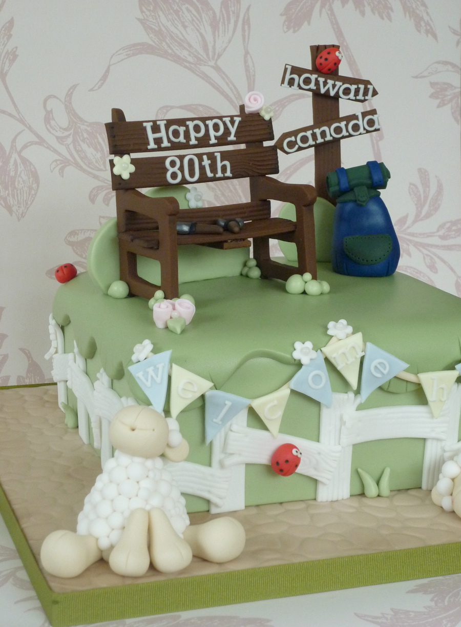 Joint 80th birthday welcome home cake for Gardening 80th birthday cake
