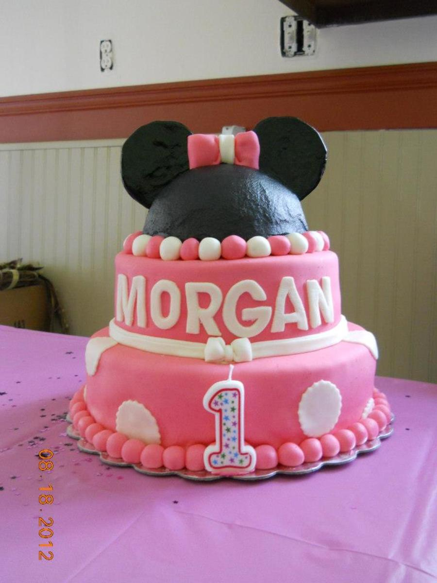 Astounding 3 Tier Minnie Mouse First Birthday Cake Cakecentral Com Funny Birthday Cards Online Alyptdamsfinfo