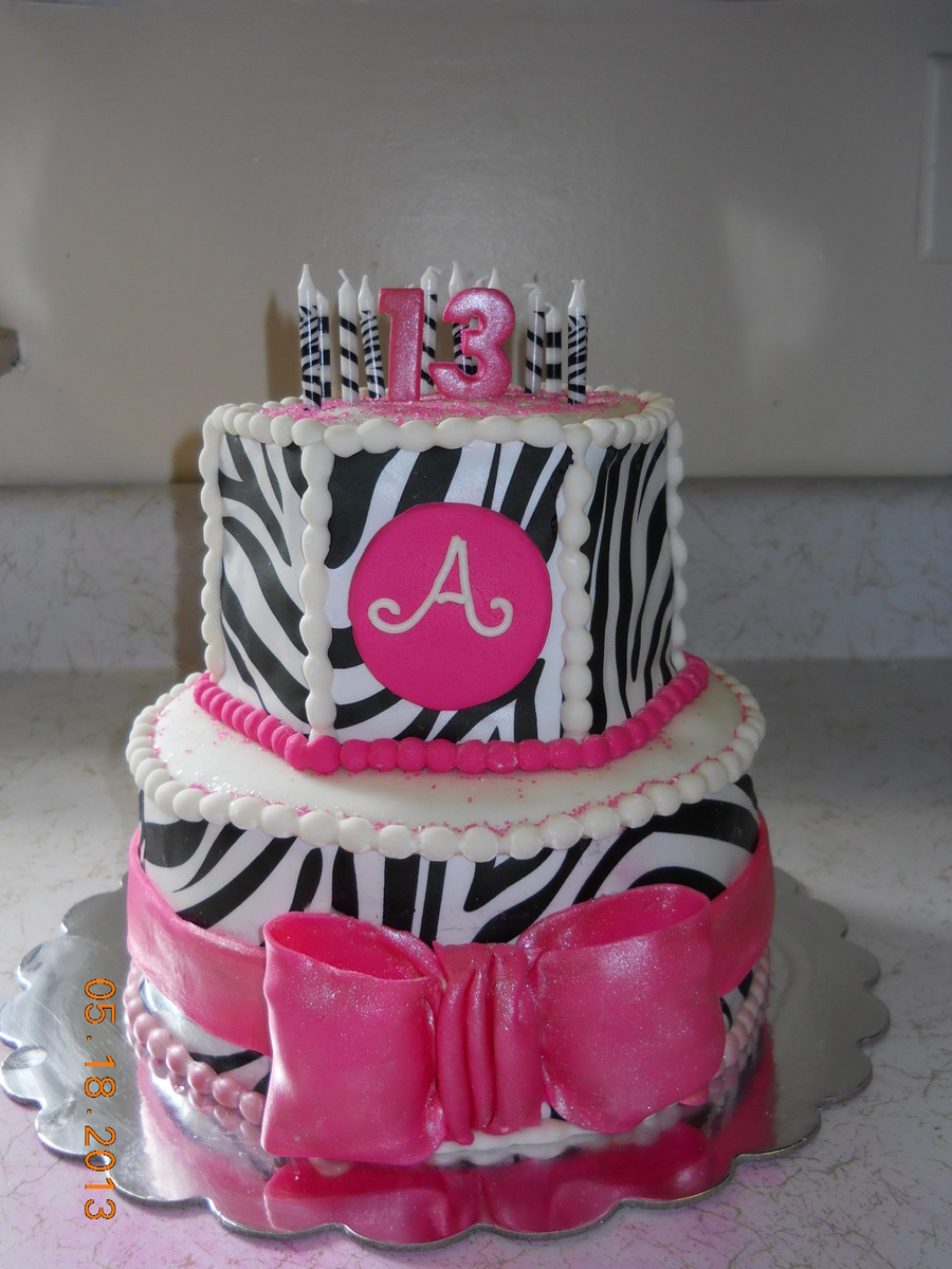 Hot Pink And Zebra 13Th Birthday Cake 8 Round Bottom 6 Hex Top On Central