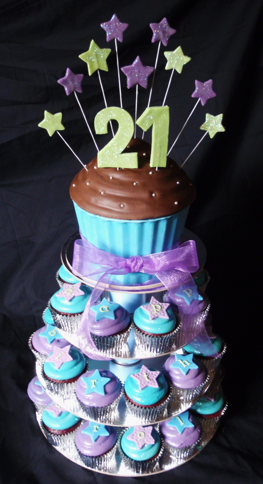 Blue Purple And Green Themed 21st Cakecentral Com