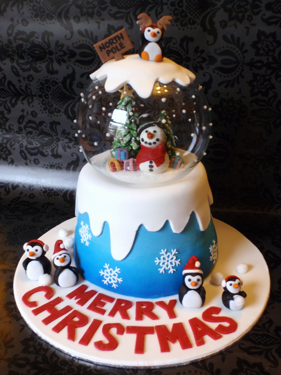christmas cake decorations snow globe cake cakecentral 2928
