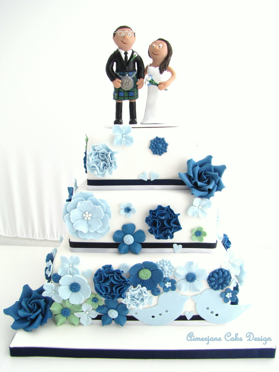 A Wedding Cake That I Recently Did Using Light Blue Navy
