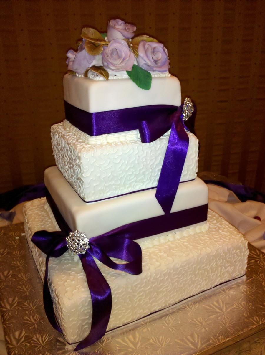 Red Velvet Wedding Cake.Lavender Italian Cream And Red Velvet Square Wedding Cake